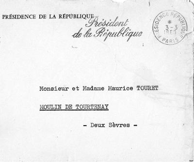 Lettre Presidence de la Republque General De Gaulle