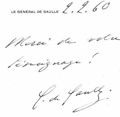 Lettre manuscrite Presidence de la Republque General De Gaulle